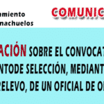 ACLARACIÓN SOBRE LA CONVOCATORIA DE PROCEDIMIENTO DE SELECCIÓN, MEDIANTE CONTRATO DE RELEVO, DE UN OFICIAL DE OBRAS