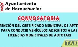 CONVOCATORIA PARA OBTENER EL CERTIFICADO MUNICIPAL DE APTITUD PARA CONDUCIR VEHÍCULOS ADSCRITOS A LAS LICENCIAS MUNICIPALES DE AUTOTAXI EN EL AYUNTAMIENTO DE HORNACHUELOS – 2020