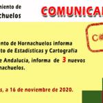 COMUNICADO. El Ayuntamiento de Hornachuelos confirma tres nuevos casos positivos por coronavirus
