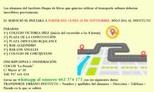 TRANSPORTE URBANO PARA LOS ALUMNOS DEL INSTITUTO DUQUE DE RIVAS